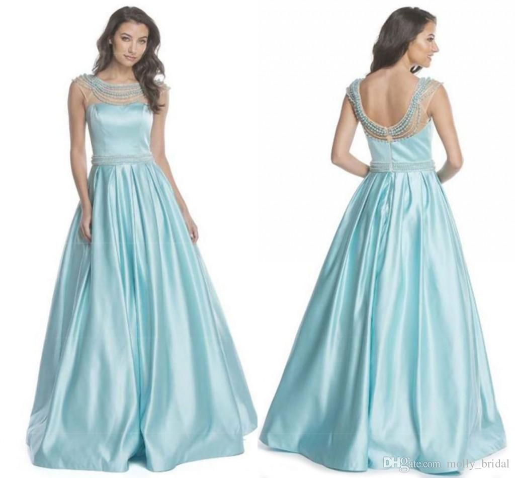 2017 See Though Neck Prom Dresses Long Baby Blue Bateau Sheer ...