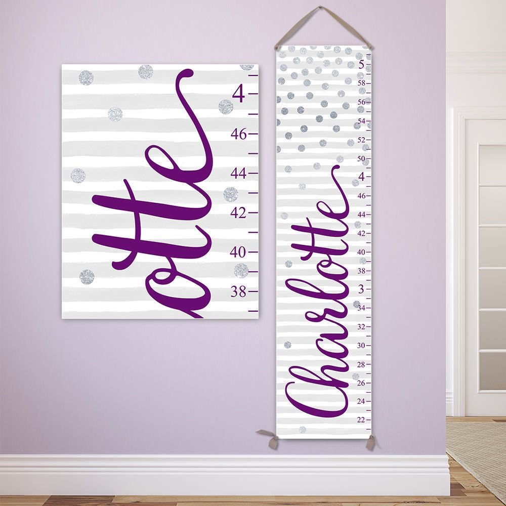 Silver dots growth chart personalized canvas growth chart silver dots growth chart personalized canvas growth chart purple and silver nursery decor nvjuhfo Choice Image