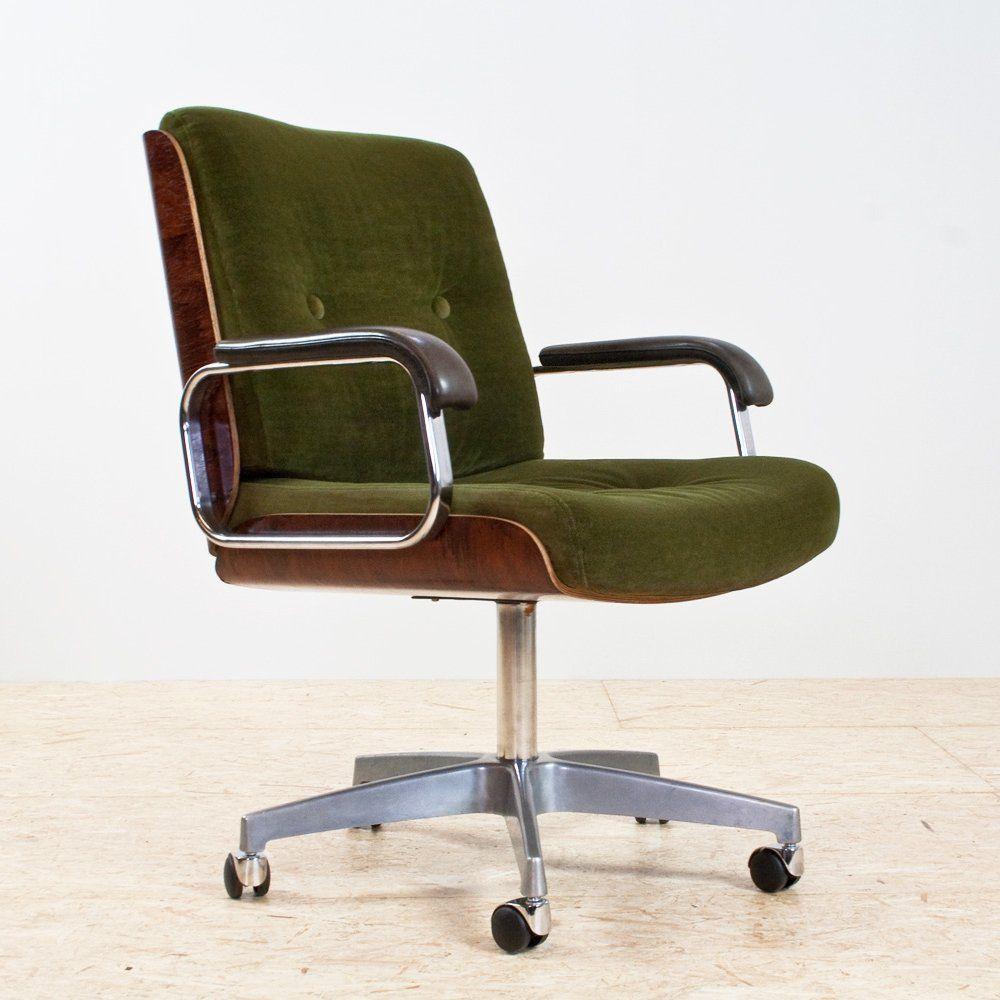 For sale green velvet wood leather desk swivel chair