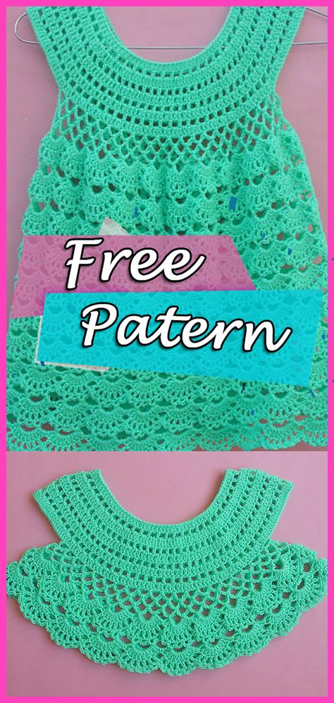 Crochet Free Pattern Baby Dress Lacy Frock – YARN OF CROCHET #crochetdress