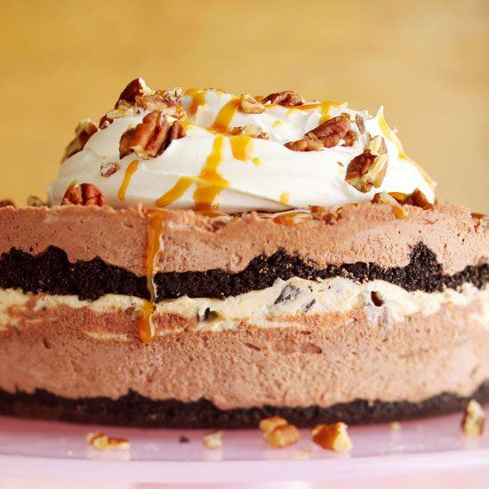 Frosty Caramel, Chocolate & Pecan Torte