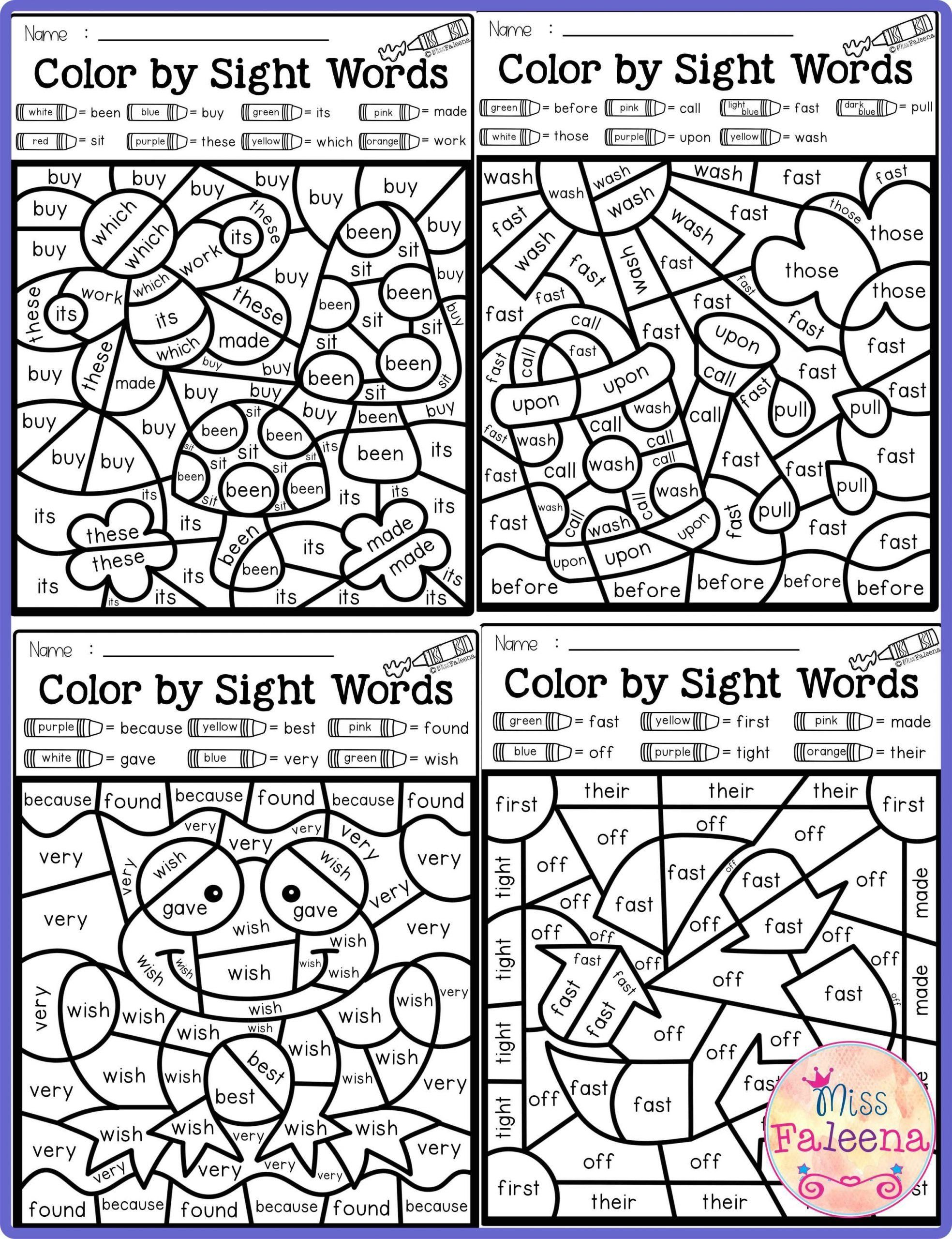 Coloring Sight Words Worksheets Spring Color By Code Sight