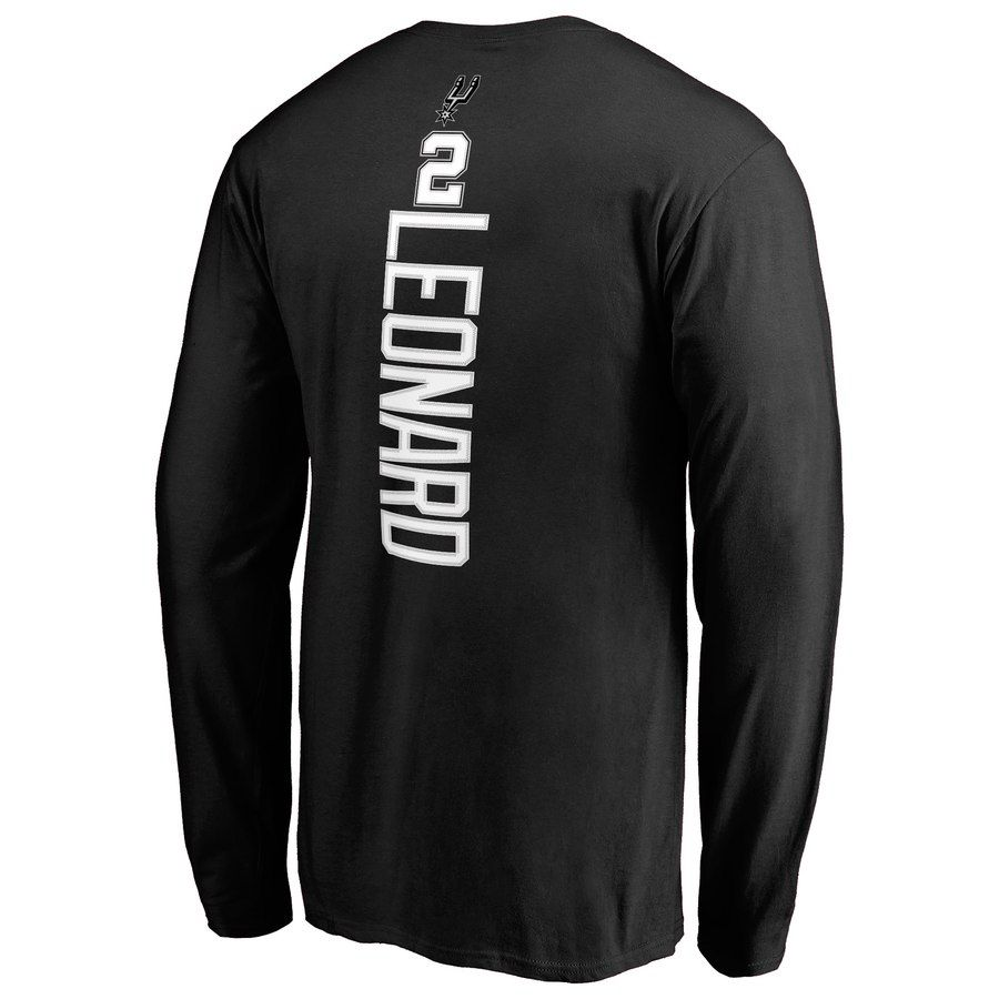 Men s San Antonio Spurs Kawhi Leonard Fanatics Branded Black Backer 3 Name    Number Long Sleeve a01b4cfcb