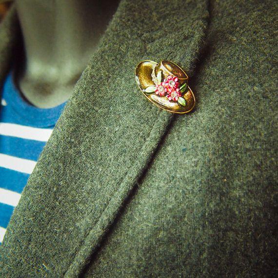 Flower Hat Brooch antique vintage styled, bridesmaid, rhinestone diamante, wedding, mothers gift, men lapel, enamel, hijab #5108