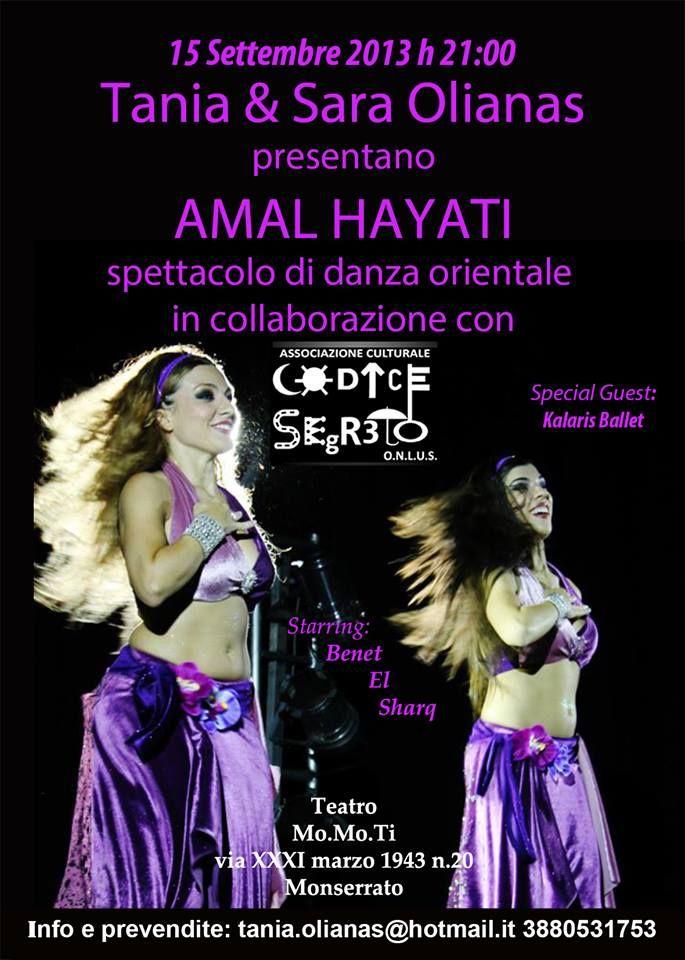 AMAL HAYATI – SPETTACOLO DANZA ORIENTALE – TEATRO MOMOTI – MONSERRATO – DOMENICA 15 SETTEMBRE 2013