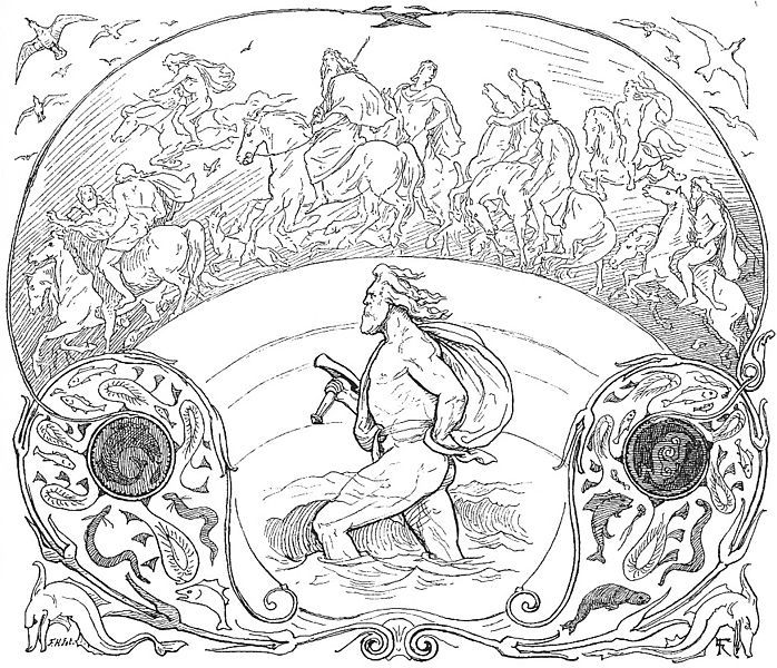 Thor Wades Rivers While The Rest Of The Aesir Ride Across The Bridge Bifrost As Described In Grimnismal By Frolich Norse Mythology Norse Mythology