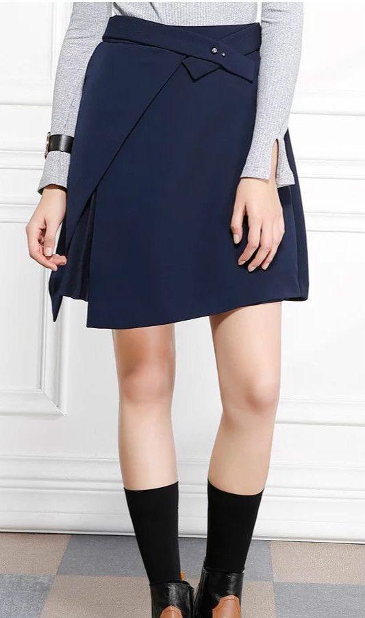 Women's Front Slit Solid Asymmetric High Waist Skirt