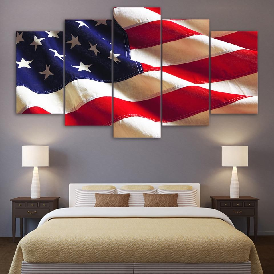 Hd printed piece canvas art american flag usa print wall pictures