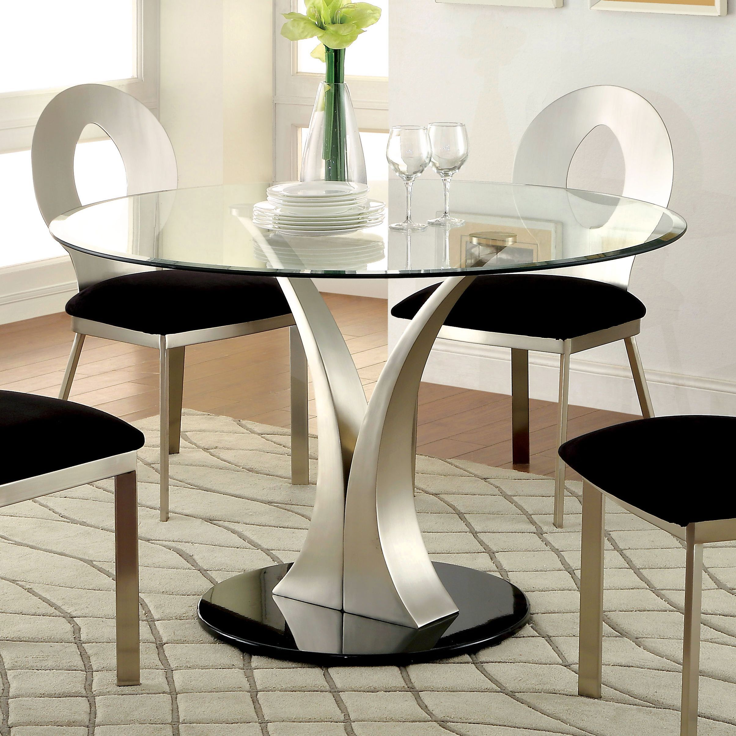 Dining Room Furniture Glass Sculpture Iii Contemporary Silver Dining Table By Foa