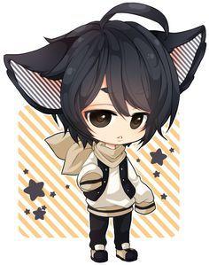 Chibi Boy Kute đang Yeu động Vật Anime