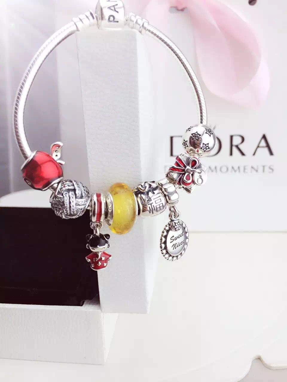 2dc337f24 Stacking one of 219 Pandora Charm Bracelet Red Yellow. Hot Sale!