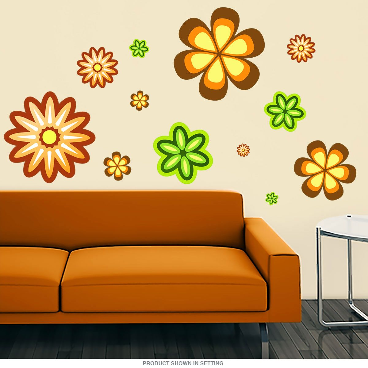 Floral vintage wall Decalset printed on matte polyester fabric. Made in USA; sizes range 3