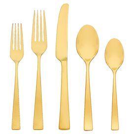 5-Piece Argento Stainless Steel Flatware Set in Gold