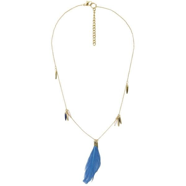 MANGO Feather Necklace ($12) ❤ liked on Polyvore