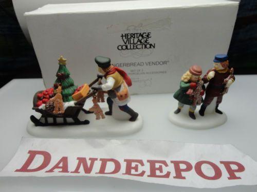 Dept. 56 Department 56 Heritage Village Gingerbread Vendor 2 pc Figures Retired find me at www.dandeepop.com #dandeepop