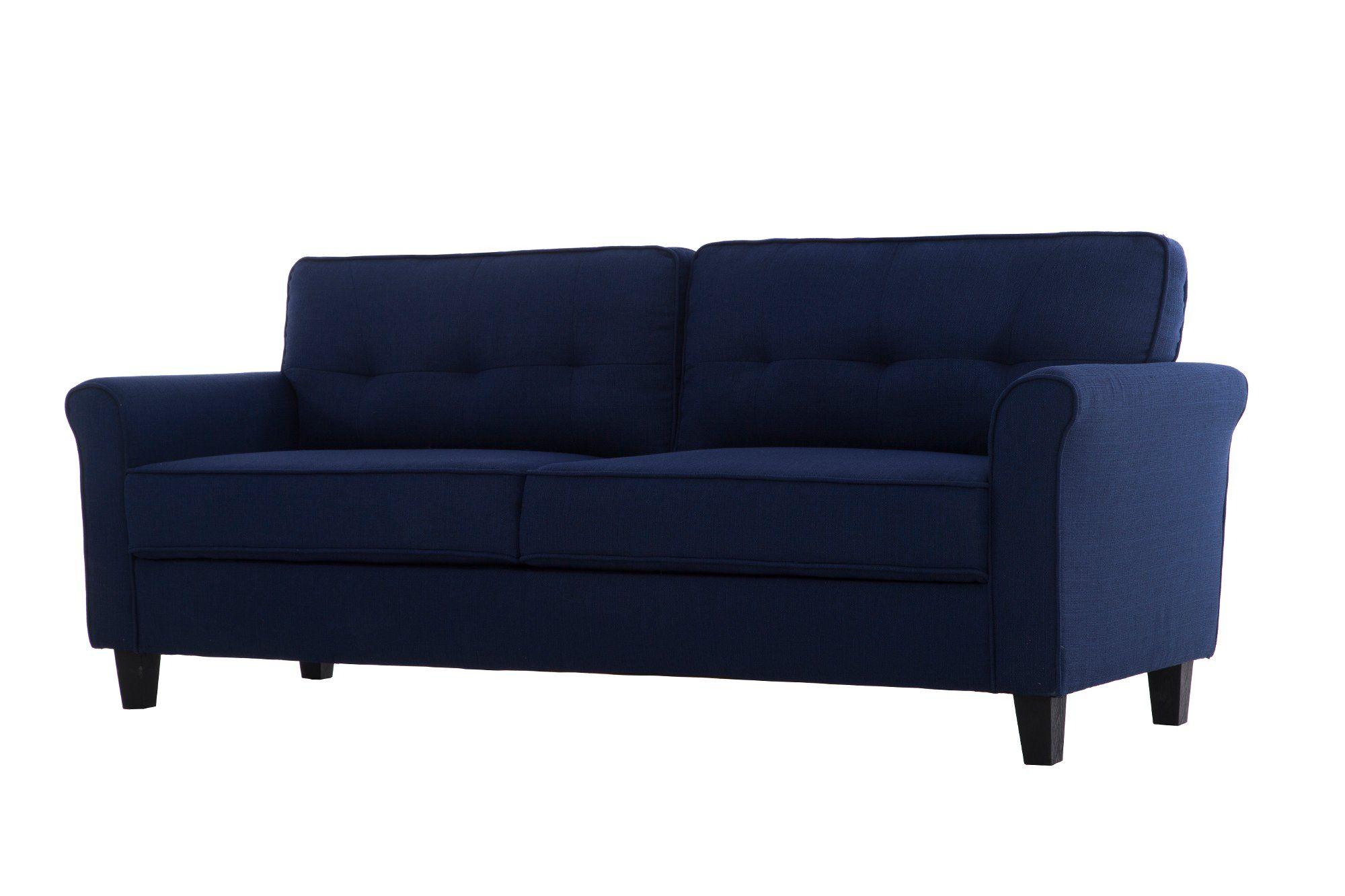 Classic Contemporary Navy Blue Loveseat Hanson Love Seat Blue
