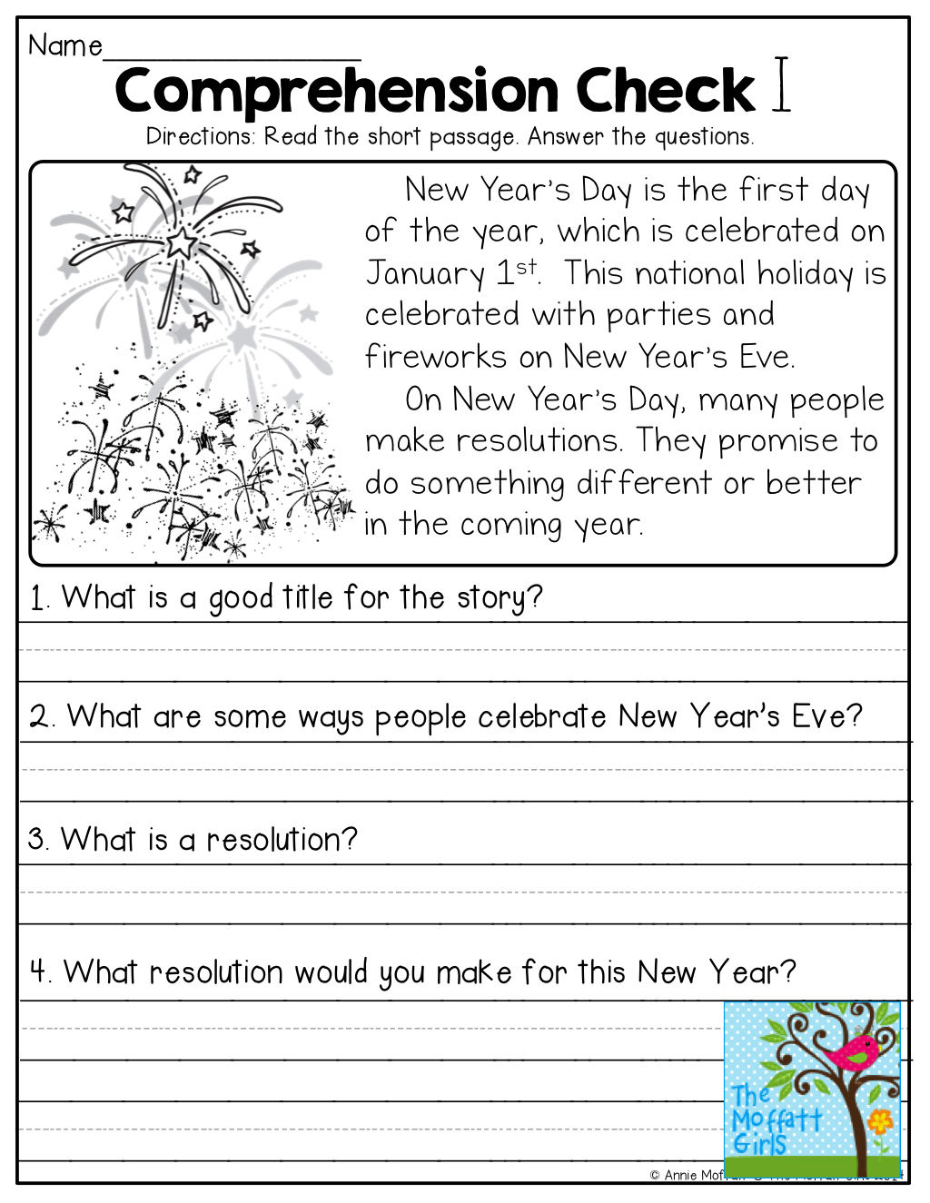 Worksheets Comprehension Passages For Grade 1 january no prep math and literacy 1st grade check reading comprehension checks tons of other printables