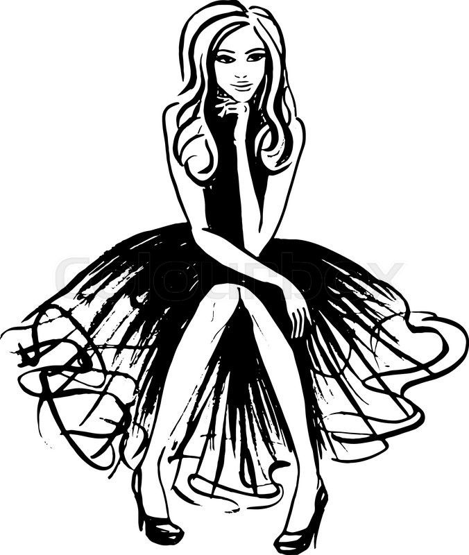 fashion illustration of sitting and thinking woman in evening dress Reading and Thinking fashion illustration of sitting and thinking woman in evening dress ink outline sketch vector colourbox on colourbox