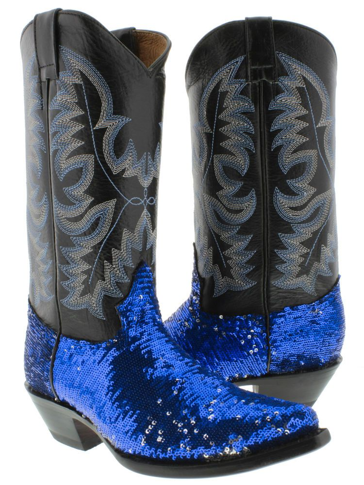 WOMEN S LADIES BLUE HOT SHINY FANCY SEXY SEQUINS COWBOY BOOTS FOR WESTERN  RODEO 96486c88a5