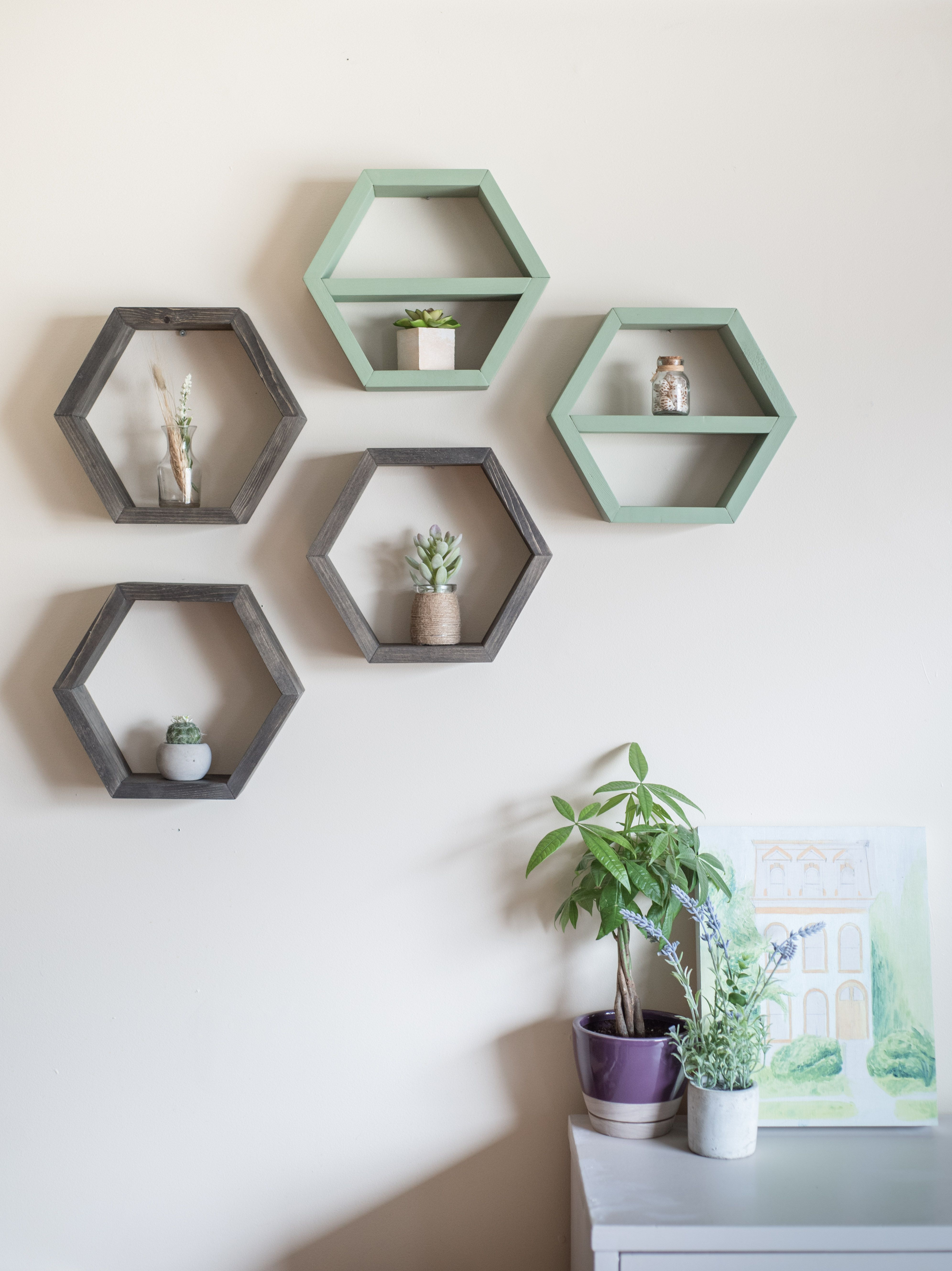 Mix Match Hexagon Shelf Sets From Timber Grove Studios On Etsy These Versatile Honeycomb Floating Shelves Are The Perf Home Decor Decor Handmade Home Decor