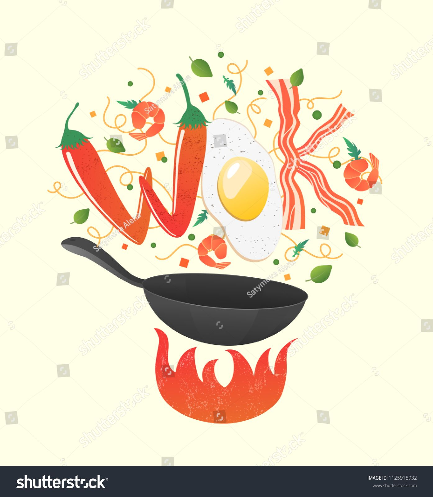 Wok Logo For Thai Or Chinese Restaurant Stir Fry With Edible Letters Cooking Process Vector Illustration Flip Chinese Restaurant Wok Chinese Food Restaurant