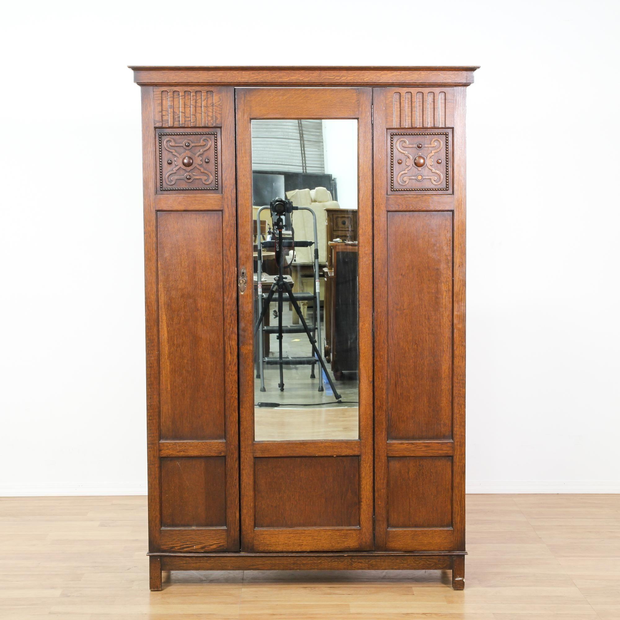 Large Antique Oak Carved Armoire W/ Mirror | Antique armoire ...