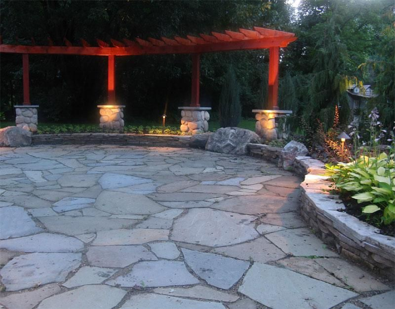 complete landscape makeover of soggy unusable backyard in west bloomfield michigan built a flagstone pergola ideaspatio - Stone Patio Ideas On A Budget