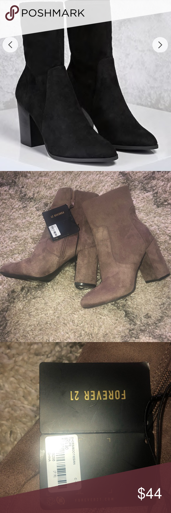 3286ca01830 NWT Out of Stock Faux Suede Taupe Booties NWT Forever 21 Taupe Faux ...