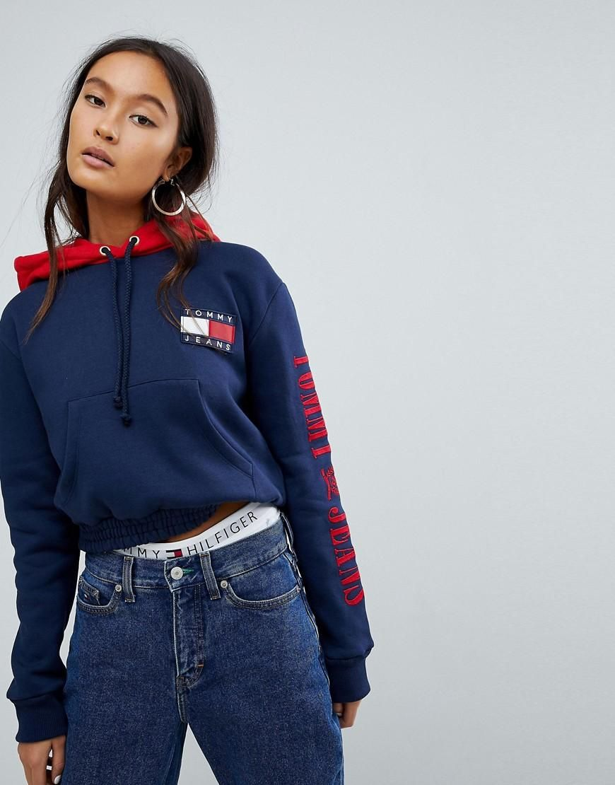 6ed9e1d35  ASOS -  Tommy Jeans Capsule Tommy Jeans 90s Capsule Contrast Crop Hoodie -  Navy - AdoreWe.com