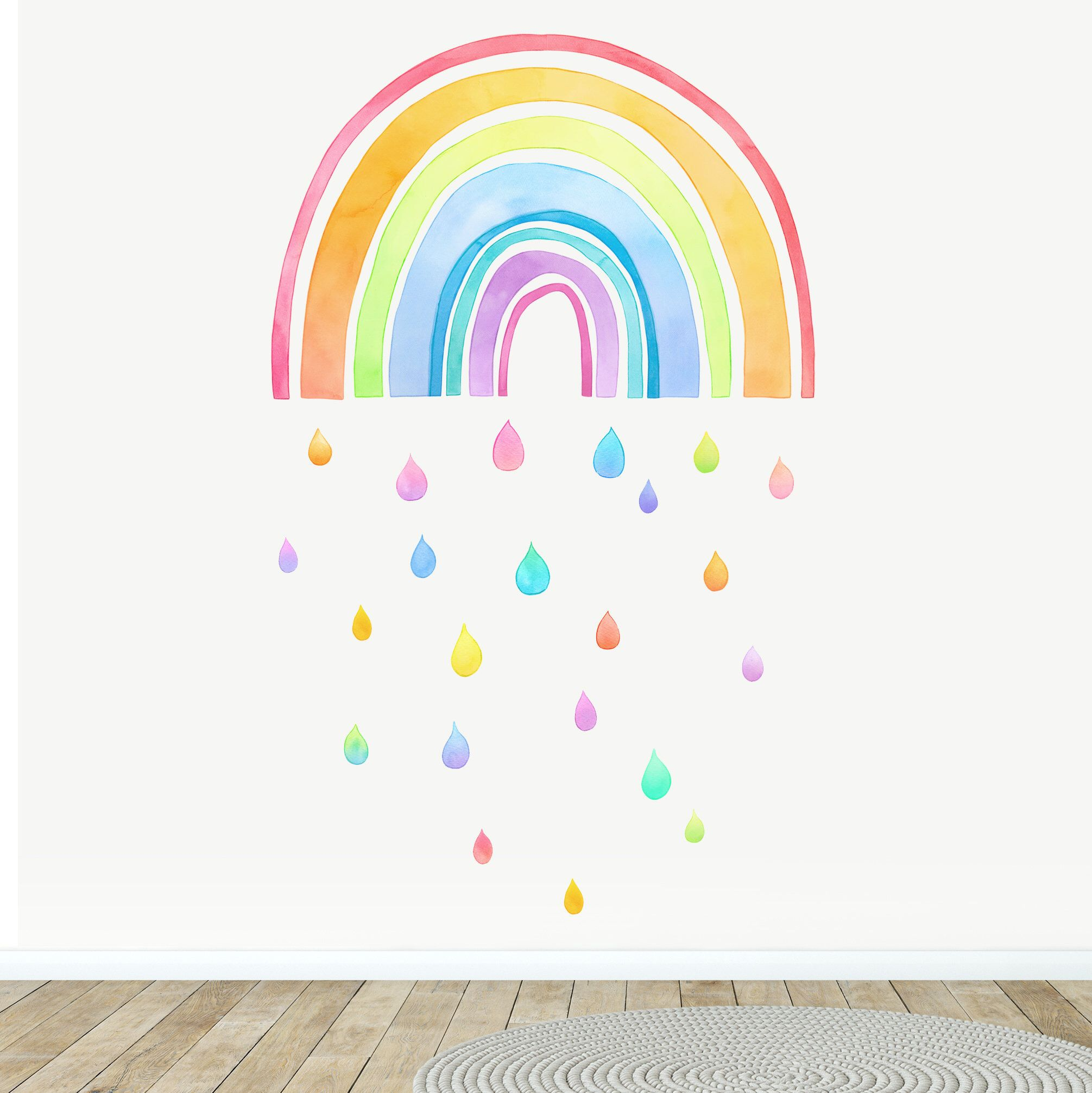 Fabric Wall Decal Large Rainbow Watercolour Kids Room Decor Etsy Fabric Wall Decals Colorful Wall Art Watercolor Kids Room