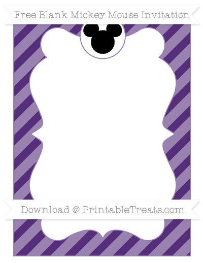 Free Royal Purple Diagonal Striped Blank Mickey Mouse Invitation