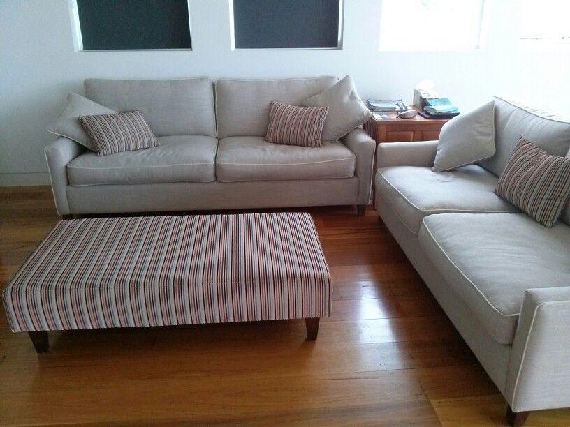 Ottoman & pale sofas