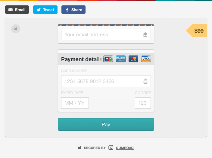 Gumroad Payment Form  Web Design Ux Ui    Ui Patterns
