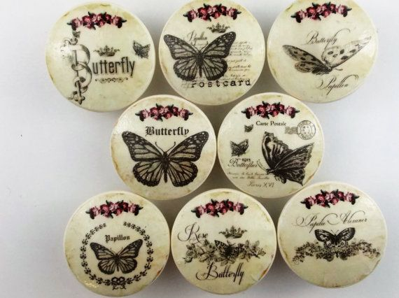 Set Of 8 Butterfly Oversized Cabinet Knobs