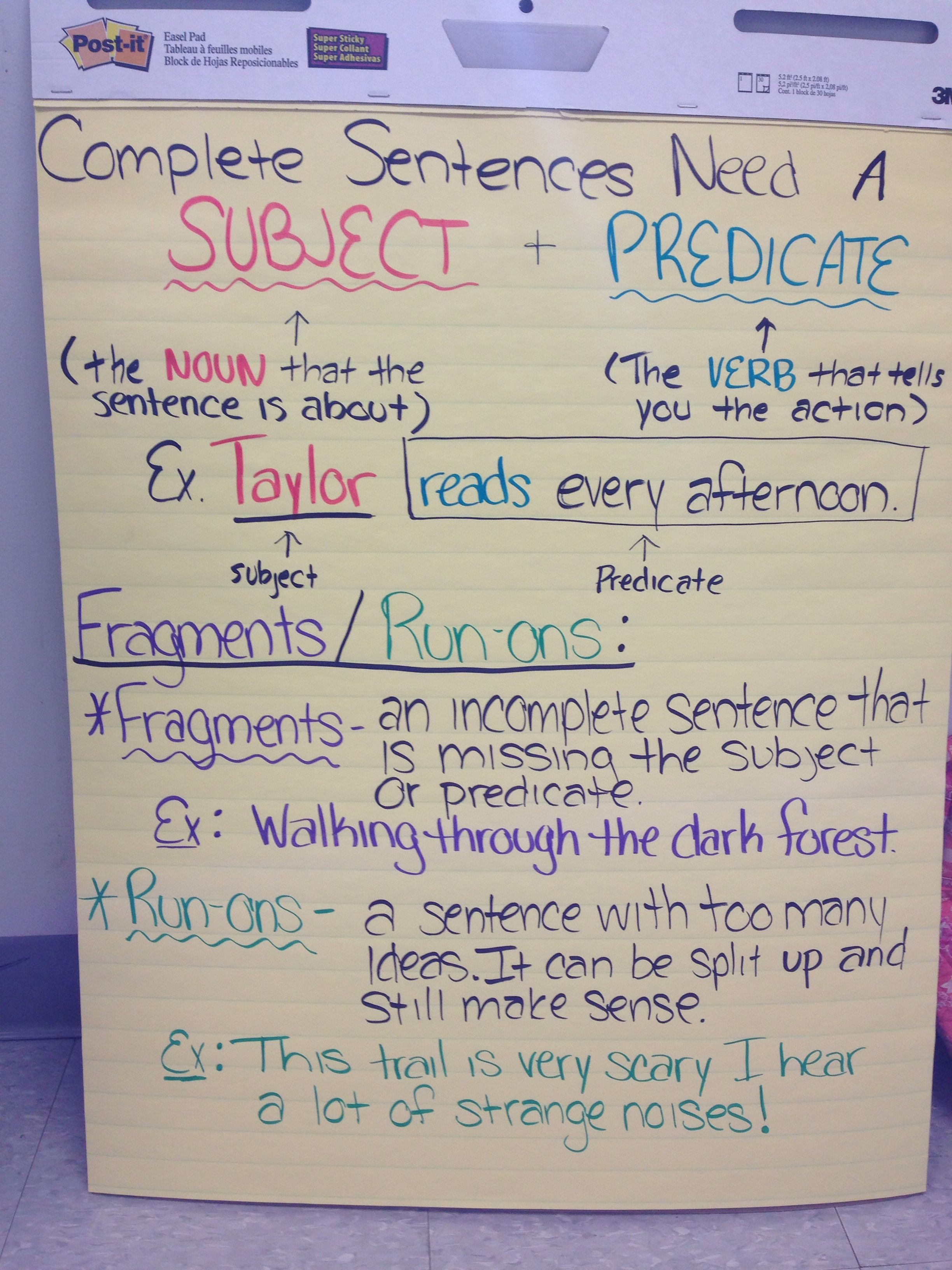 Esl Anchor Charts Simple And Compound Sentences Chart And