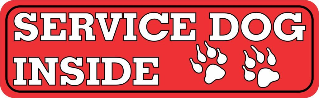 Stickertalk Service Dog Inside Vinyl Sticker 10 Inches X 3 Inches In 2020 Service Dogs Branding Materials