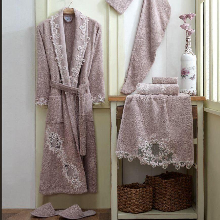 روب استحمام نانسي مطرز مفرد ليلكي عدد القطع 8 Cotton Robe