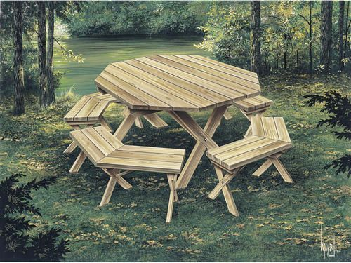 plan h002d-0003 octagon picnic table at menards   woodworking ideas