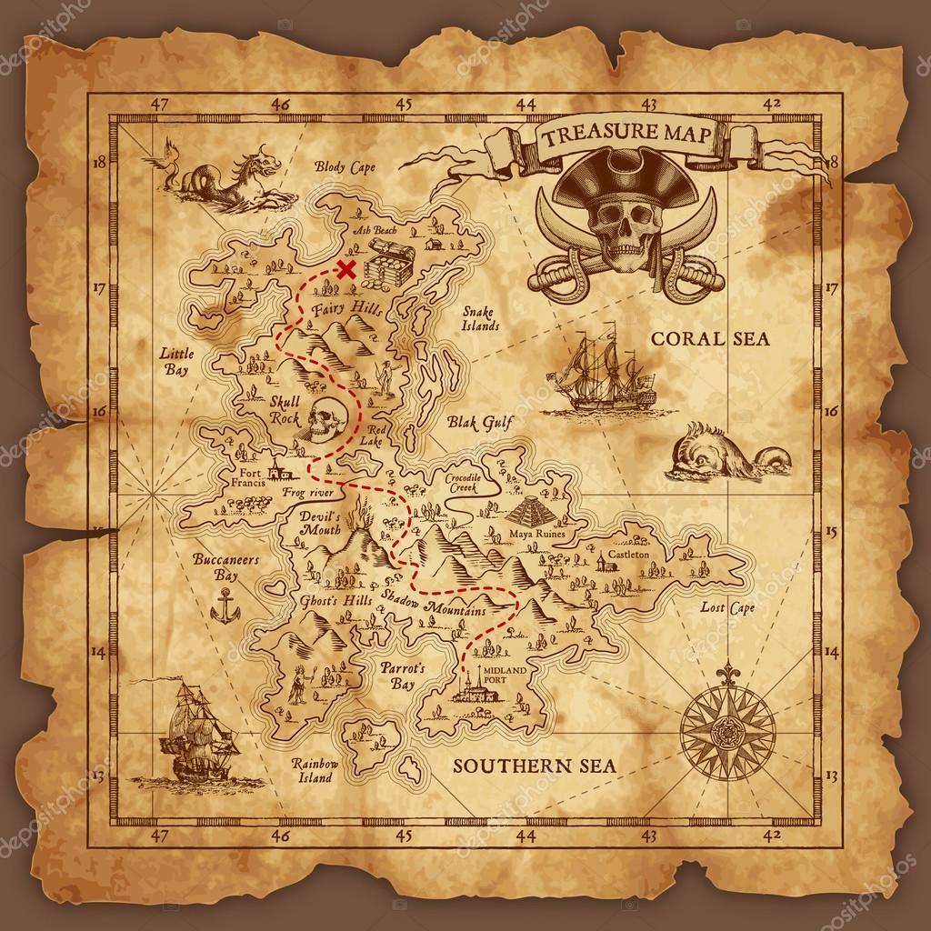 ベクトルの海賊の宝の地図 — ストックイラストレーション | 宝の地図 ...