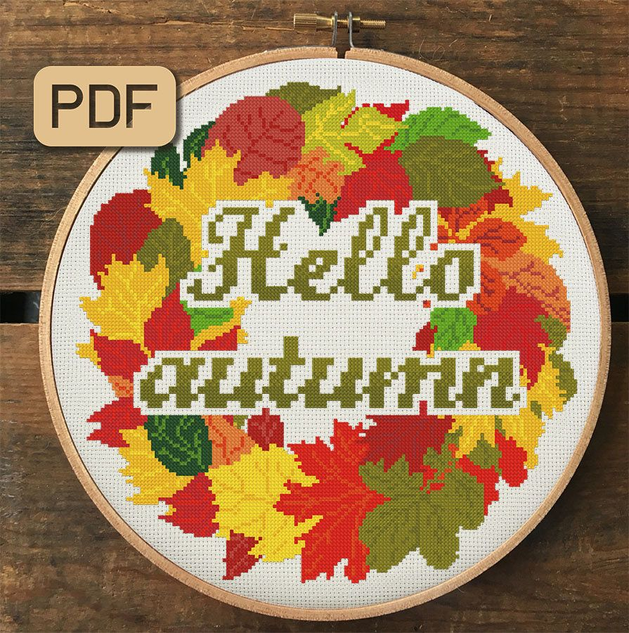 Hello Autumn Cross Stitch Pattern, Fall Cross Stitch Pdf, Leaves Embroidery Design #helloautumn