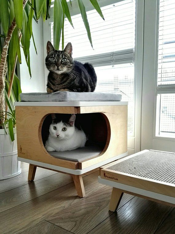 Modern cat house made from plywood in scandinavian design Retro Box from PurrFur