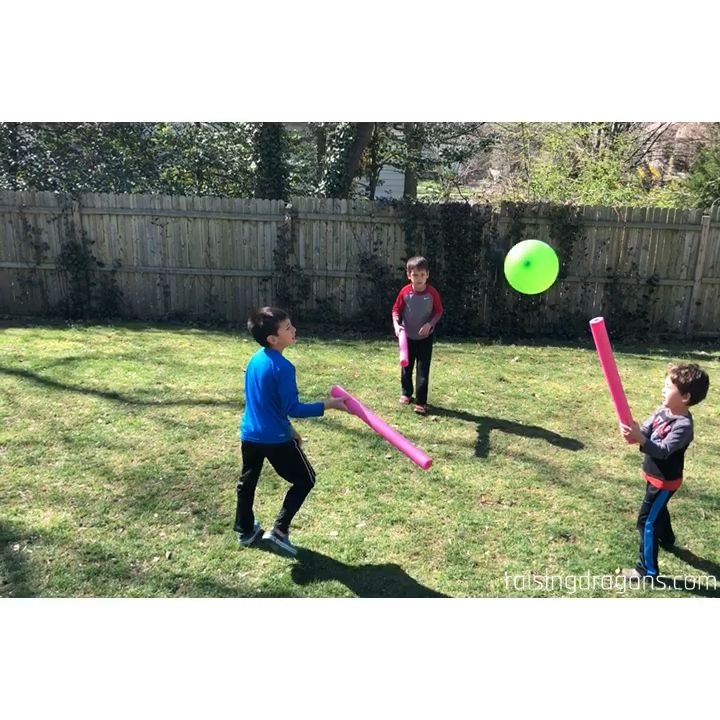 Photo of Pool Noodle Balloon Game * ages 1+ ⋆ Raising Dragons