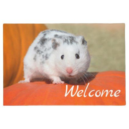 Cute Syrian Hamster White Black Spot Funny Welcome Doormat Zazzle Com Syrian Hamster Funny Animals Animal Pillows