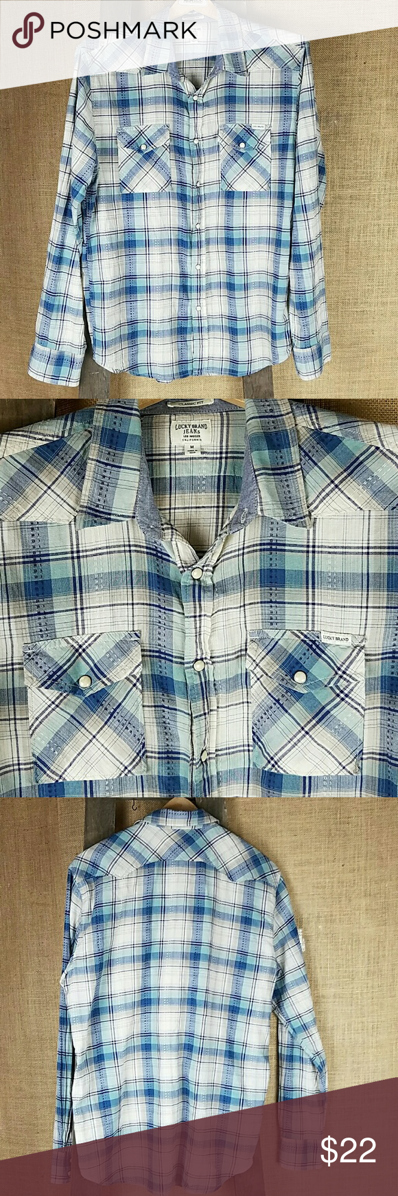 Lucky brand womenus m classic fit pearl snap plaid western shirts