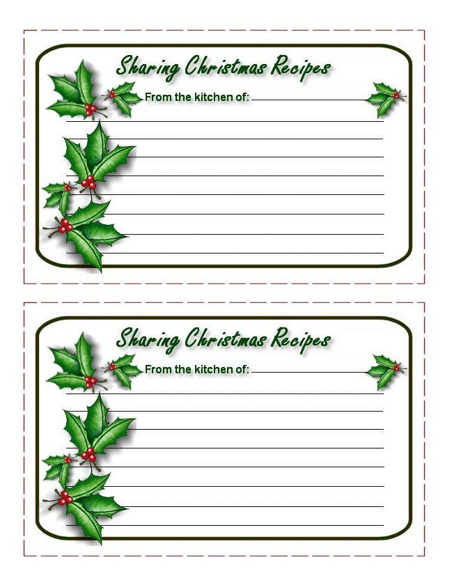 Printable Christmas Recipe Cards From The Christmas Cottage Christmas Recipe Cards Recipe Cards Template Holiday Recipe Card Template