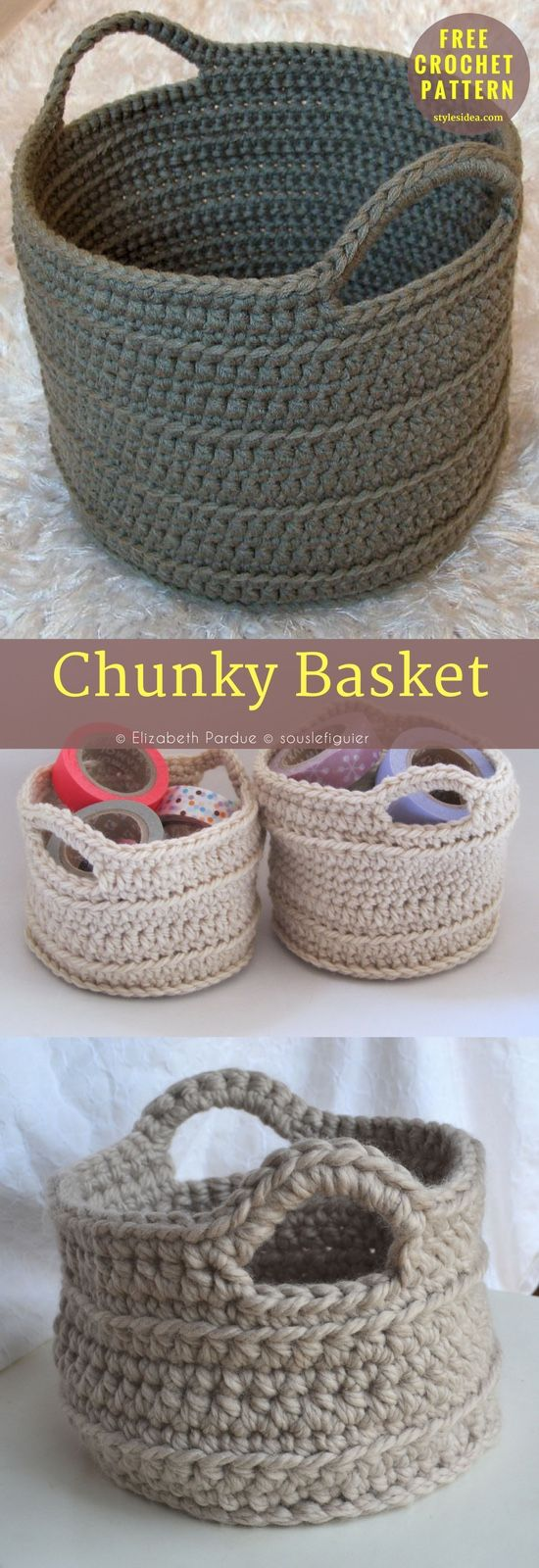 Chunkycrochet Basket Freepattern Containers Measures Approx 32
