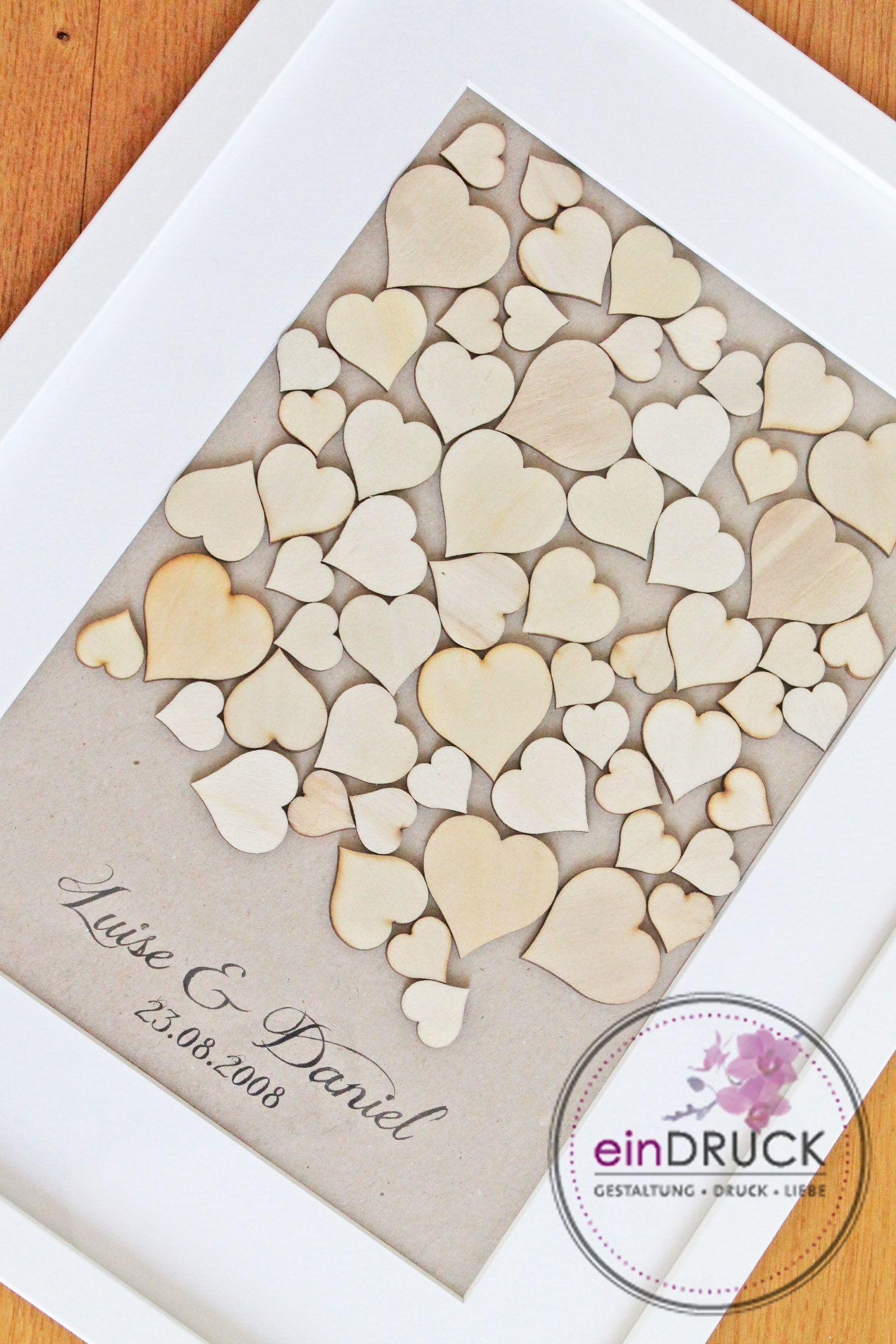 Das Etwas Andere Gastebuch Holzherzen Im Rahmen Wooden Hearts Guest Book Crafts