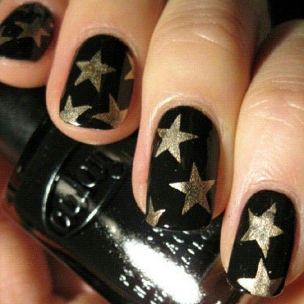 Black And Golden Star Nails Naildesign Pinke Nagel Lila Nagel