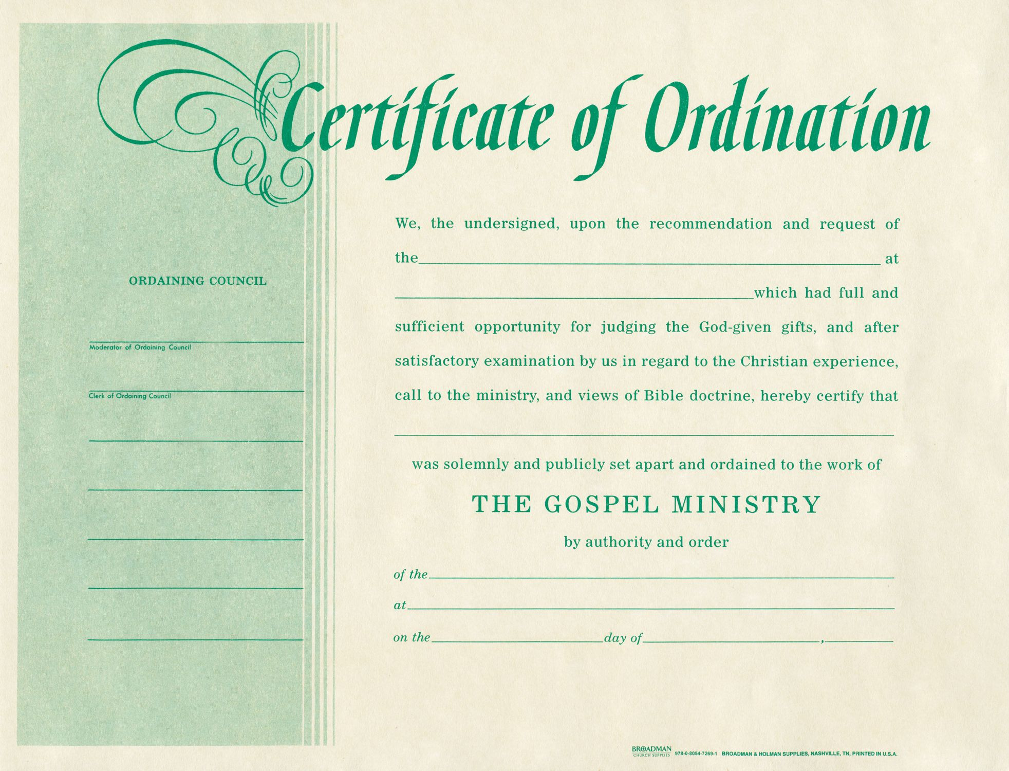 free blank certificate of ordination ordination for minister