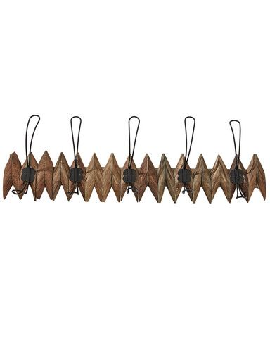 Unusual wall mounted coat hooks in rustic wood. The decorative zig-zag  design holds